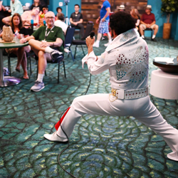 Elvis Karaoke took place at the Jungle Room Bar at the Graceland Exhibition Center.