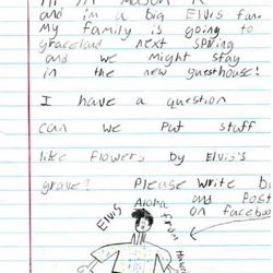 Mason K. included a drawing of Elvis with his letter to Graceland.