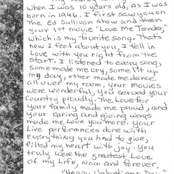 Margaret, a fan from Pennsylvania, wrote this letter.