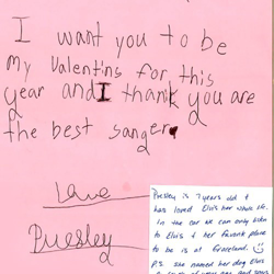 This letter was written by Presley, a fan from Ohio.