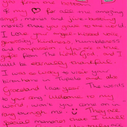 Wendy, a fan from England, sent this letter.