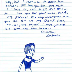 Annahelen, a fan from Kentucky, wrote this letter.