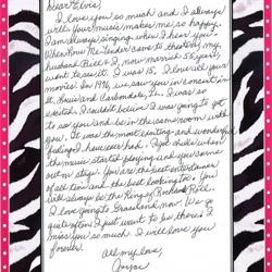 This letter is from Joyce, an Elvis fan in Illinois.
