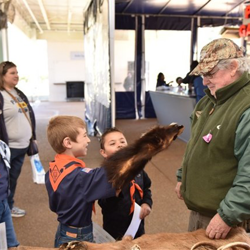 Scouts got up-close-and-personal with animal pelts at Scouts Rock.