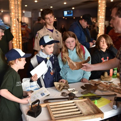 Scouts learned about fossils, animal bones and pelts at Scouts Rock.