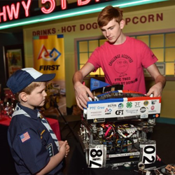 Scouts got a lesson in robotics from First Tech Challenge Robotics.