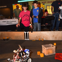 Scouts had the chance to test drive a few robots at Scout Day.