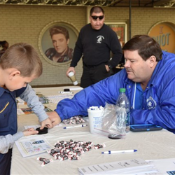 Scouts learned about fingerprinting and had their fingerprints made at Scouts Rock at Graceland.
