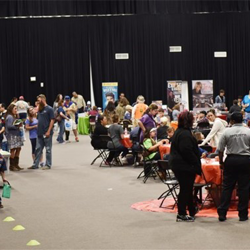 Scouts visited with a variety of exhibitors at Scouts Rock.