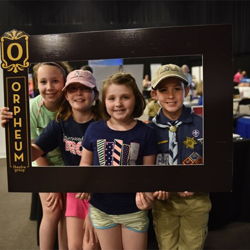 Smile! The Orpheum Theater offered a great photo opportunity at Scouts Rock.
