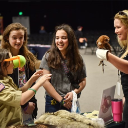 Owls, eagles and other critters met with Scouts at Scouts Rock at Graceland.