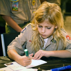 Scouts had the chance to make cards for the troops.