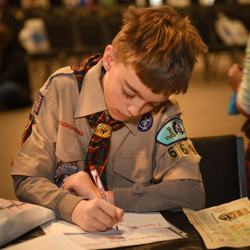Scouts made cards for the troops during Scouts Rock.