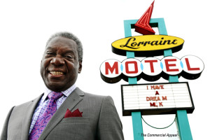 April 2, 2014 - D'Army Bailey, founder of the National Civil Rights Museum, stands in front of a sign at the Lorraine Motel on Wednesday morning. Bailey, 73, died on Sunday, July 12, 2015, after a battle with cancer. (Yalonda M. James/The Commercial Appeal)