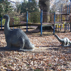 Children love the dinosaurs, dig pit, and play cave in the Prehistoric Plant Trail.