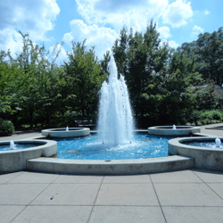 The Four Seasons Fountain provides a dramatic backdrop to this seasonally-changing area.