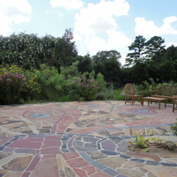 Mosaic art works, like the Butterfly Patio, are found throughout My Big Backyard.