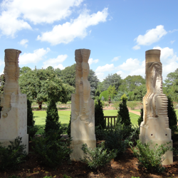 Three dramatic pieces by prominent artist Jim Buchman were recently added to the Sculpture Garden.