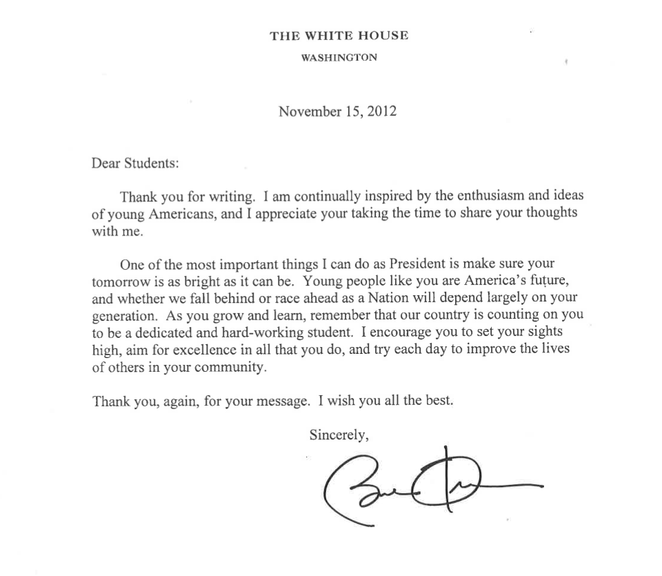 Letter from the President of the United States