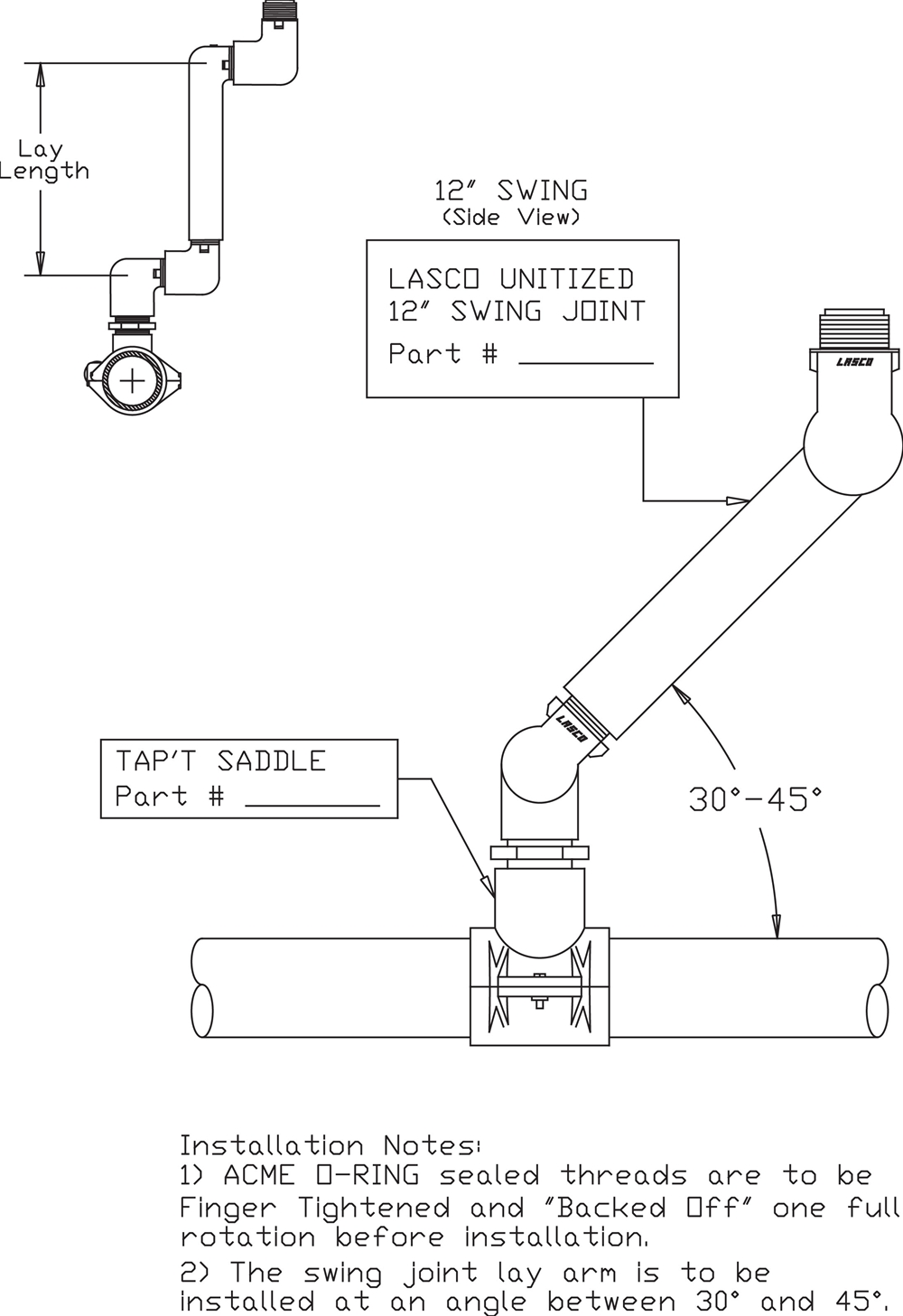 Swing Joint General Product Cad Drawings Saddle Diagram Backed Off One Full Rotation Before Installation 2 The Lay Arm Is To Be Installed At An Angle Between 30 And 45 Degrees Download Dwg