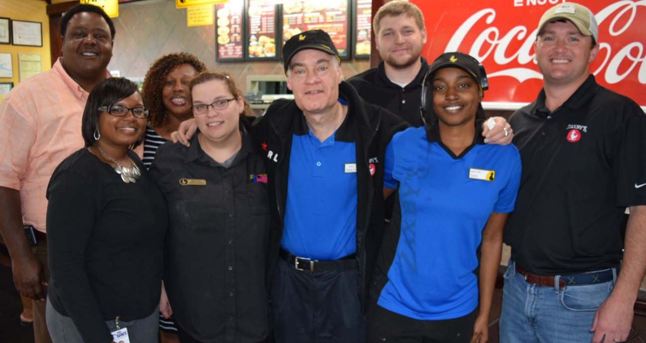Pictured Center Is Karl Krieger Zaxbys Dining Room Attendant And April Employee Of The Month He Was Joined By Restaurant SRVS Staff Recently