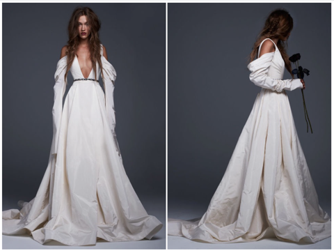 Viviana: Light ivory silk faille plunging V-neck gown with draped skirt and sleeves and jeweled belt detail