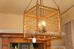 Square Wood & Rope Light Fixture