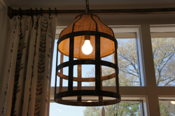 Metal and Burlap Light fixture