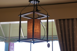 Burlap & Wood Light Fixture