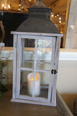 Grey Washed Lantern with Luminera Candle