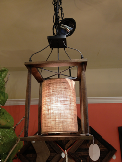 Wood and Burlap lantern