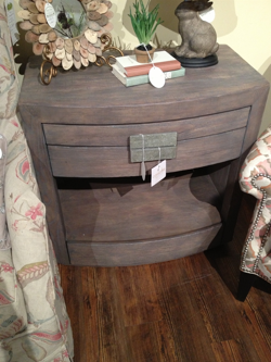 wood and stone nightstand