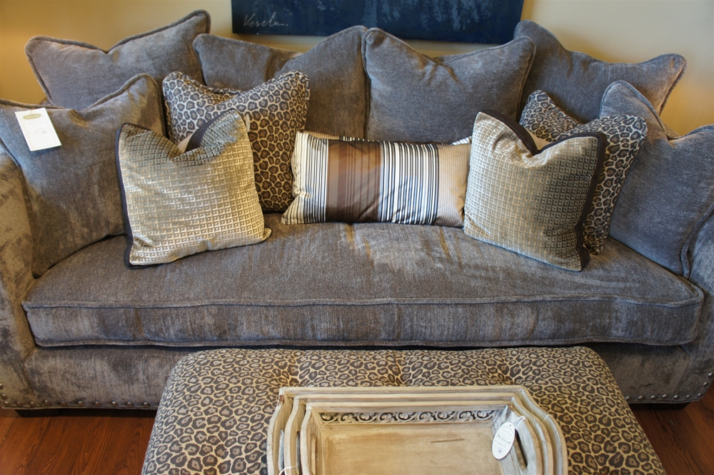 First Fruit Collection Grey Velvet Rowe Sofa