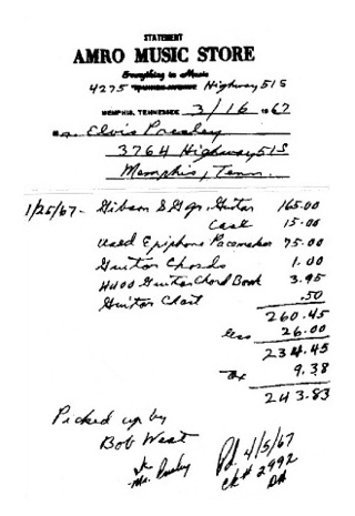Receipt to Elvis Presley  | Amro Music, Memphis