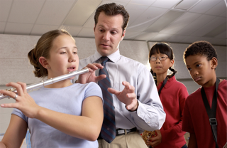 Flute player in school band