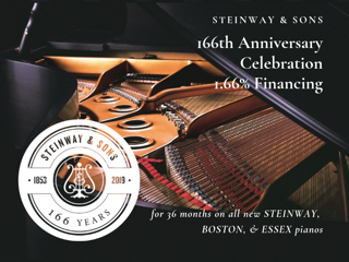 Steinway celebrating 166th anniversary with 1.66% Financing