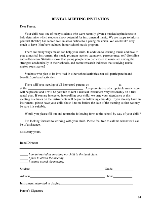 Letter to Parents - Rental Meeting