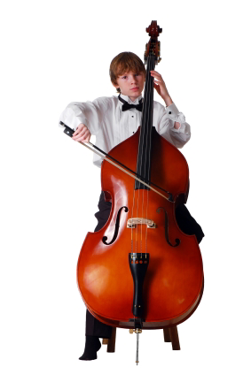 Boy playing upright bass