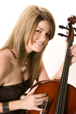Girl holding cello and bow