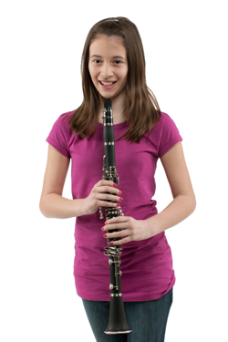 A beginner on clarinet holding a clarinet