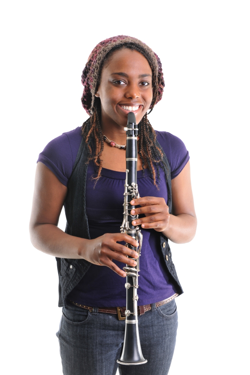 clarinet student with used clarinet