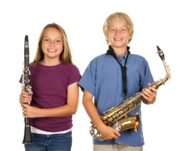 Band students with rental saxophone