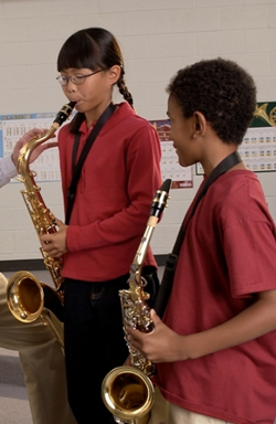 students playing saxophone at school