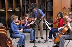 Cello students in orchestra class