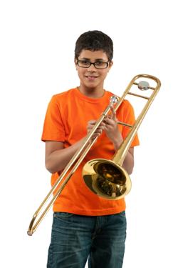 Student holding trombone