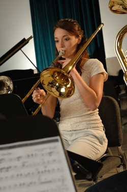 Girl playing trombone