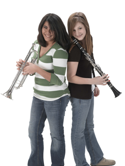 Band students with trumpet and clarinet