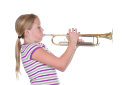 Band studentl with trumpet