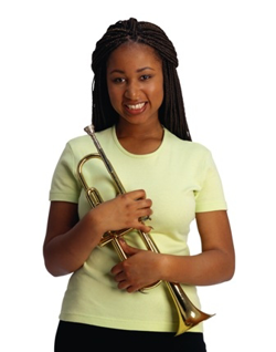 Band beginner with a trumpet