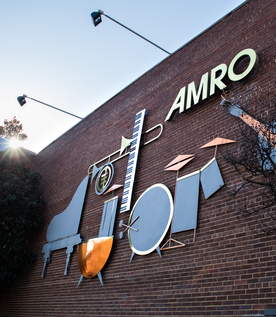 A photo of Amro's mural on the front of the building.